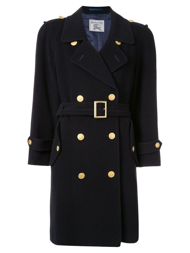 Burberry Pre-Owned button-embellished trench - Black