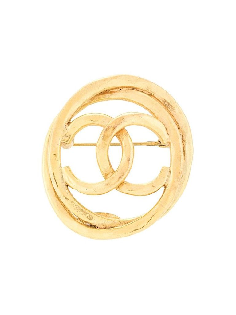 Chanel Vintage oval CC cutout brooch - Gold