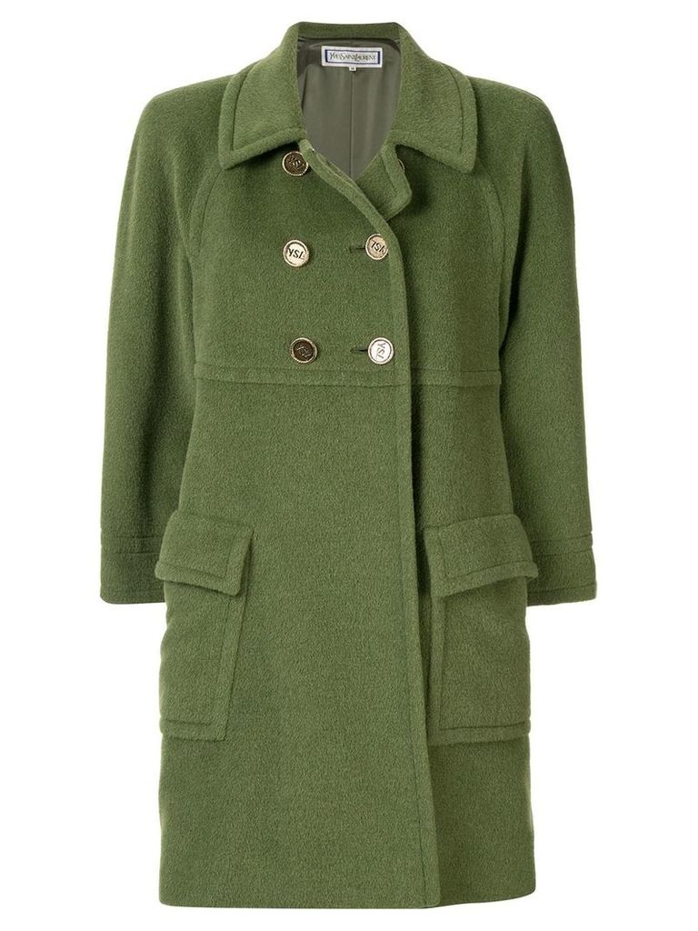 Yves Saint Laurent Pre-Owned double-breasted coat - Green
