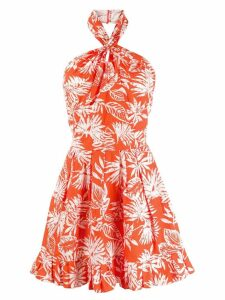 CHRISTIAN DIOR PRE-OWNED leaf print mini dress - Orange