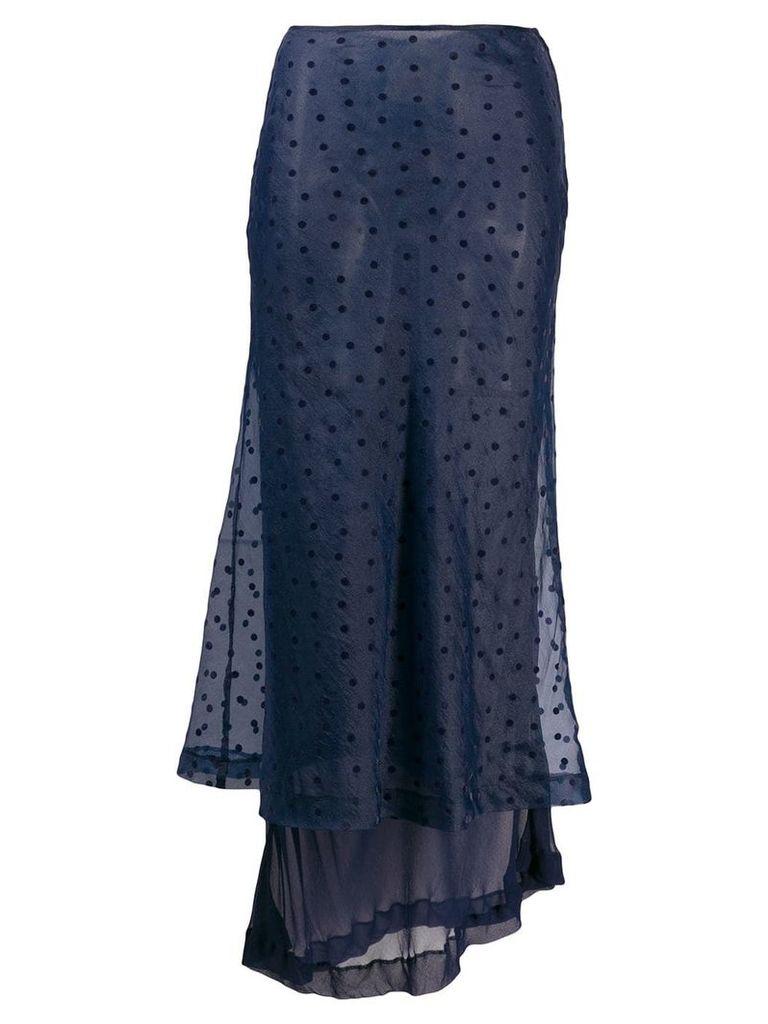 Comme Des Garçons Vintage 1990's layered polka-dot skirt - Blue