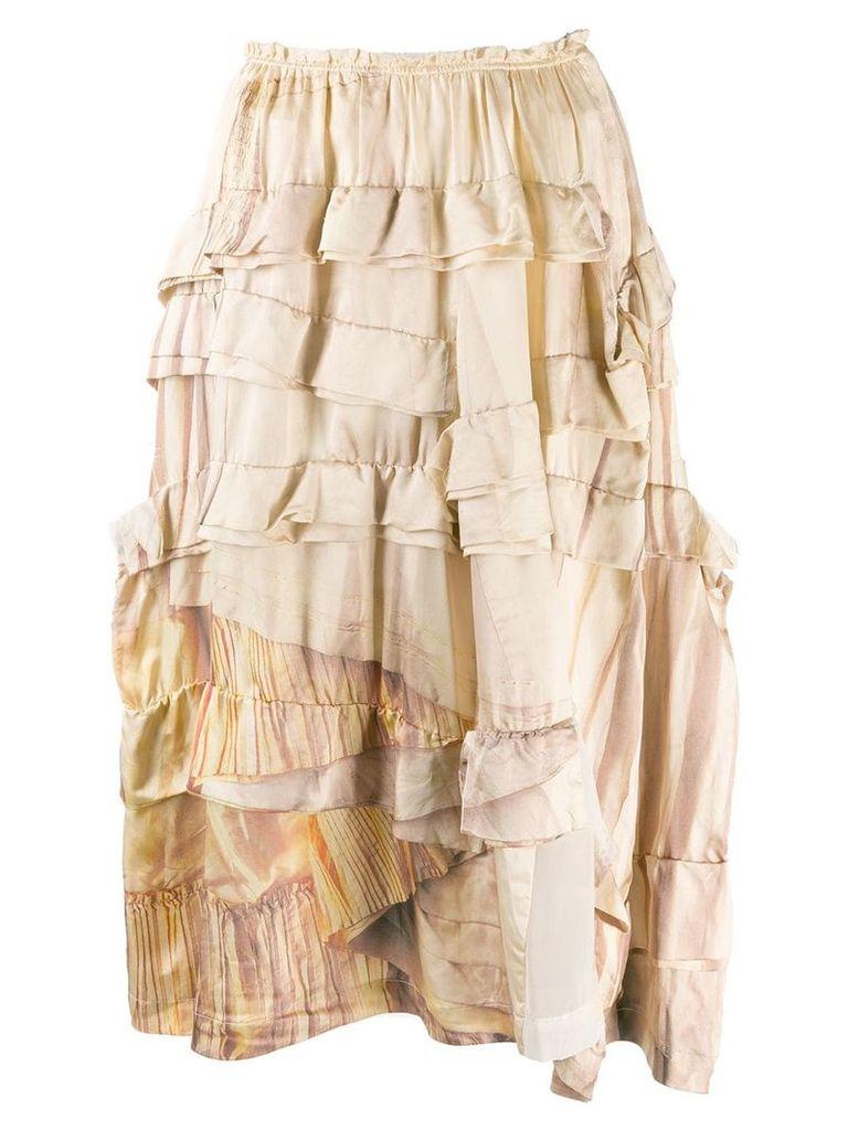 Comme Des Garçons Vintage 2000's tiered ruffled skirt - Neutrals