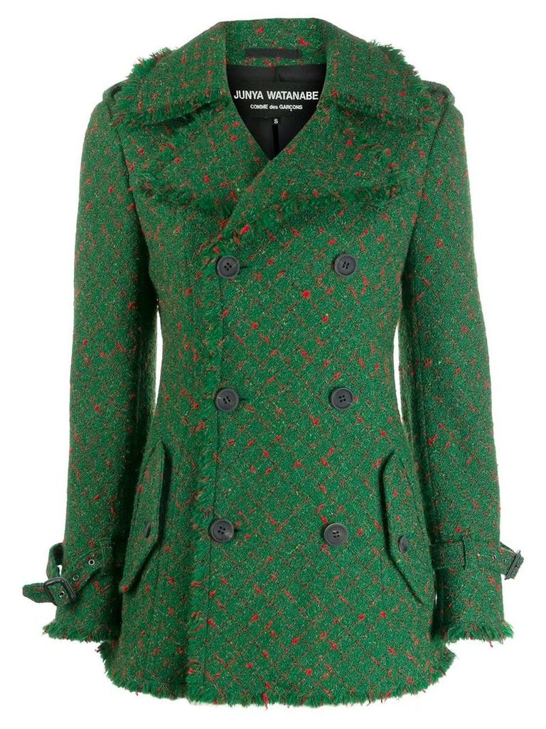 Junya Watanabe Comme des Garçons Pre-Owned checked peacoat - Green