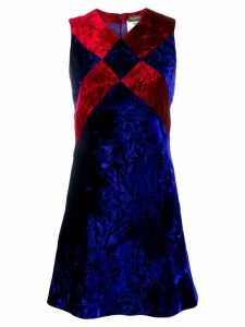 Versace Pre-Owned crushed velvet mini dress - Blue