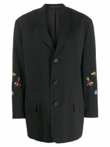 Yohji Yamamoto Pre-Owned 1990's floral embrooidered blazer - Black