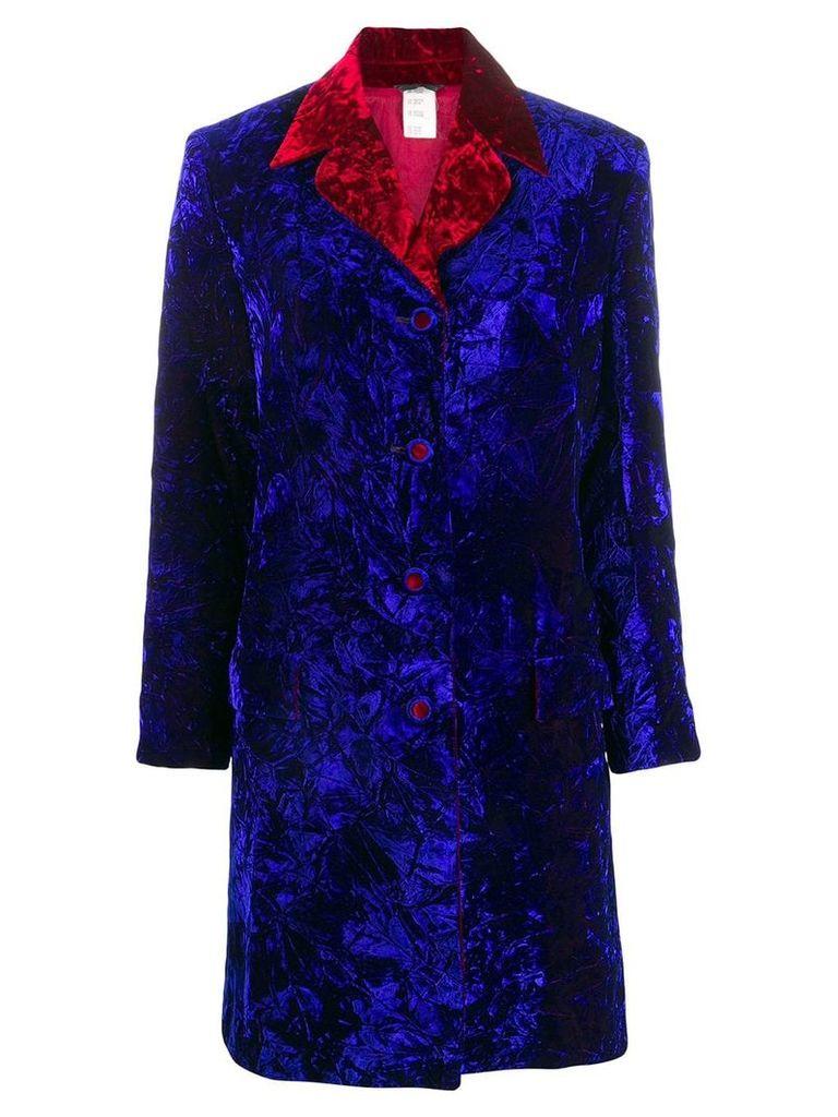 Versace Vintage crushed velvet coat - Blue