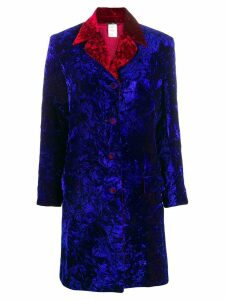 VERSACE PRE-OWNED crushed velvet coat - Blue