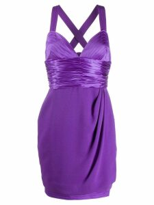 VERSACE PRE-OWNED 1990's draped cocktail dress - Purple