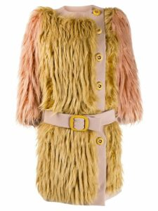 Prada Pre-Owned 2011's belted faux fur coat - Neutrals
