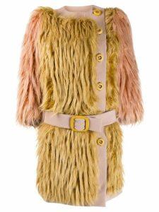 Prada Pre-Owned 2011's belted faux fur coat - Neutrals