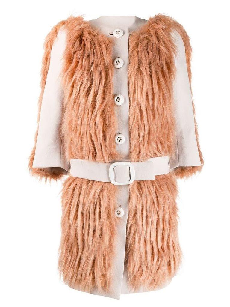 Prada Vintage 2011's knitted belted coat - Neutrals