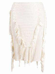 Gucci Pre-Owned 2004's fringed pleated skirt - Neutrals