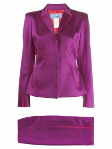Thierry Mugler Pre-Owned 1980's stitching details skirt suit - Pink