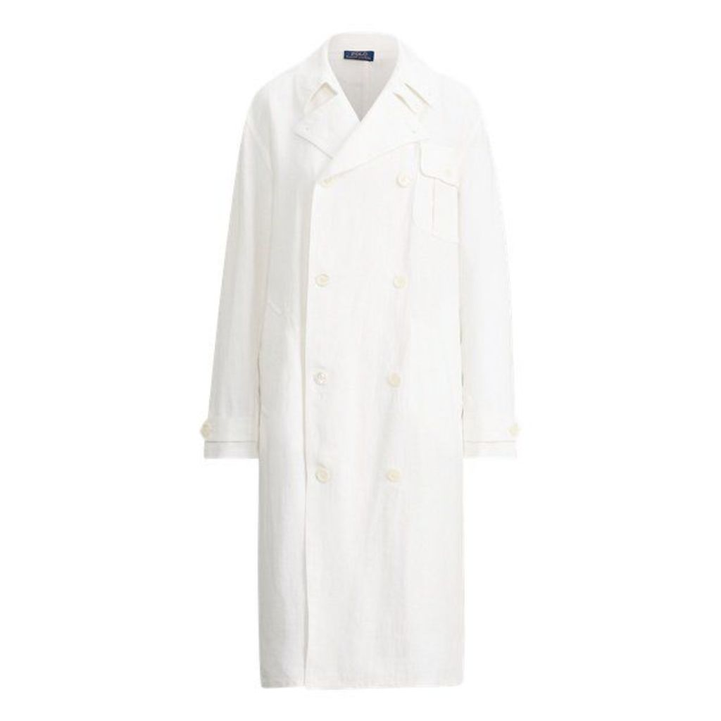 Double-Breasted Linen Coat