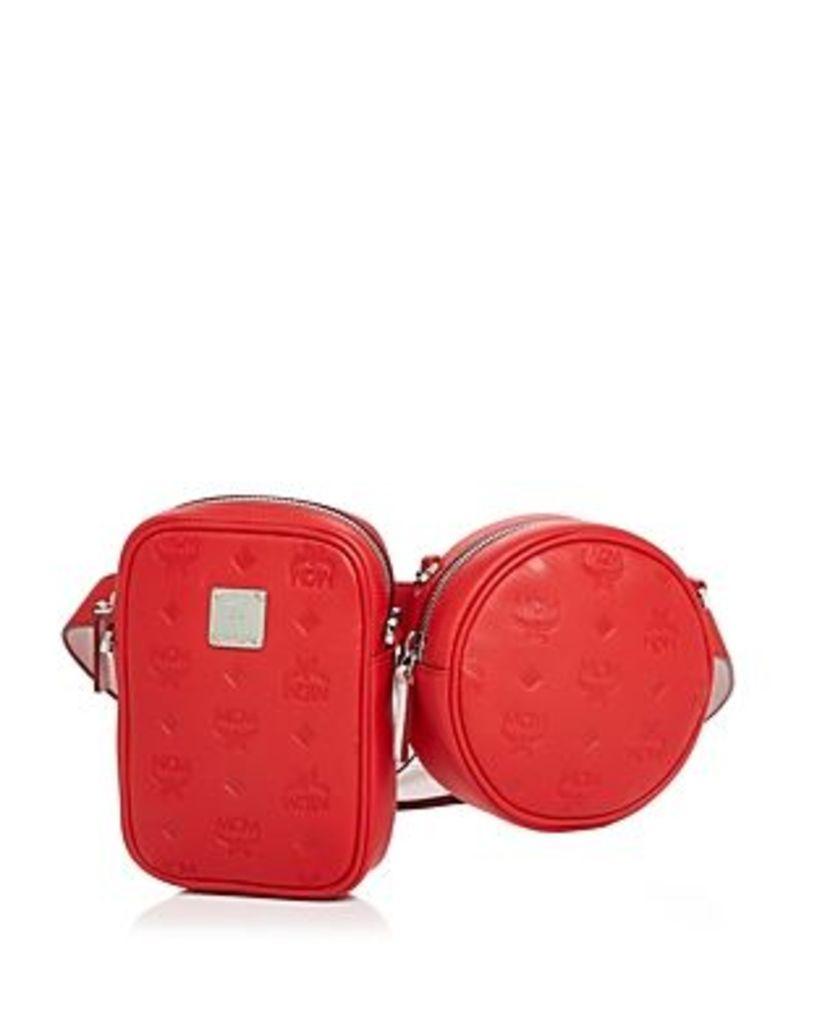 Mcm Essential Monogrammed Double-Pouch Convertible Belt Bag