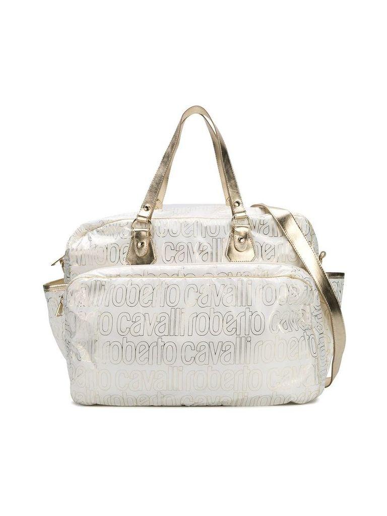 Roberto Cavalli Junior logo print changing bag - White