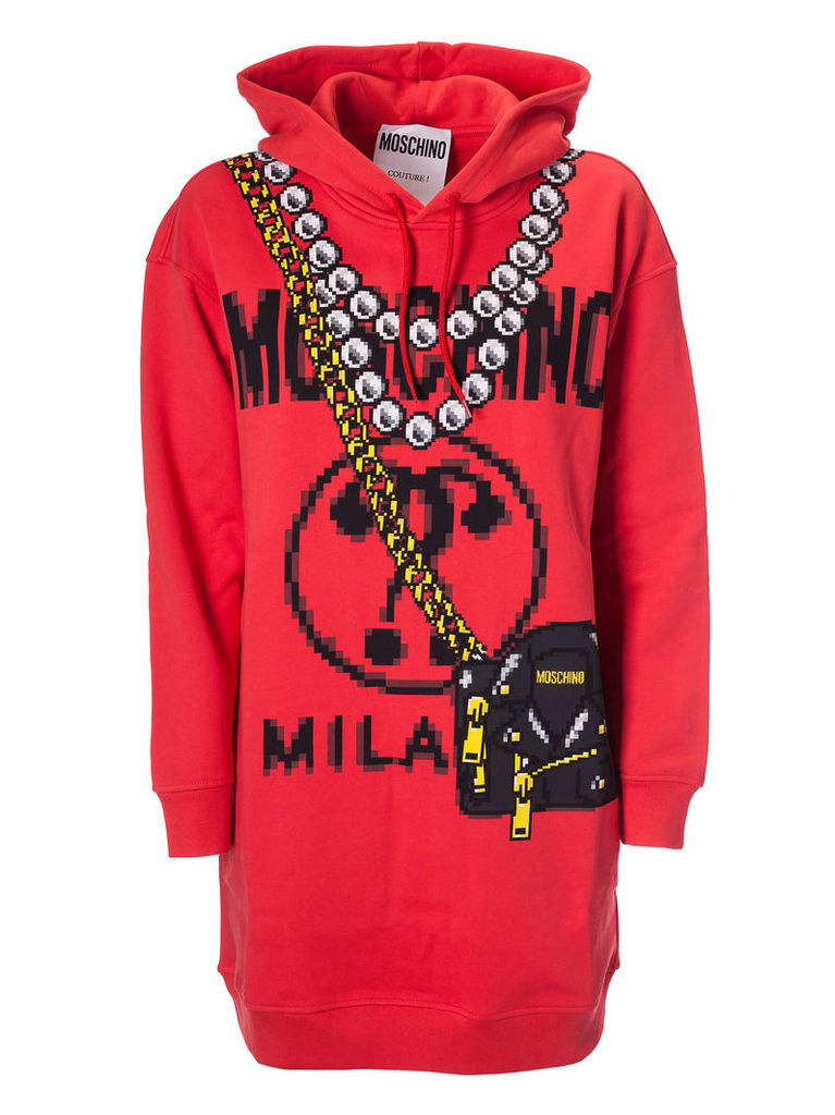 Moschino Pixed Logo Hooded Dress