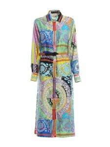 Versace Patterned Belted Shirt Dress