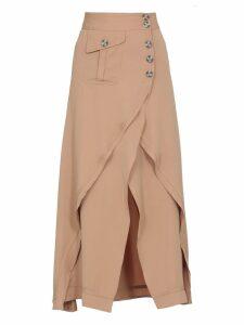 self-portrait Midi Camel Skirt