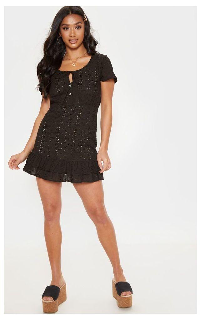 Petite Black Broderie Anglaise Dress, Black