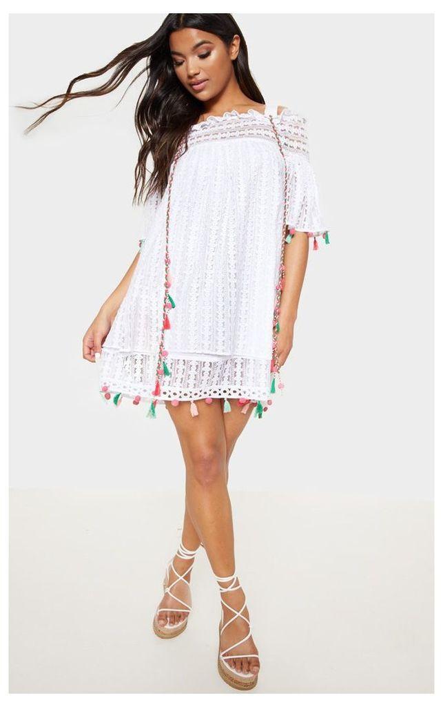 White Strappy Crochet Trim Pom Pom Smock Dress, White