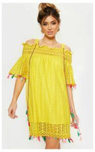 Bright Yellow Strappy Crochet Trim Pom Pom Smock Dress, Bright Yellow