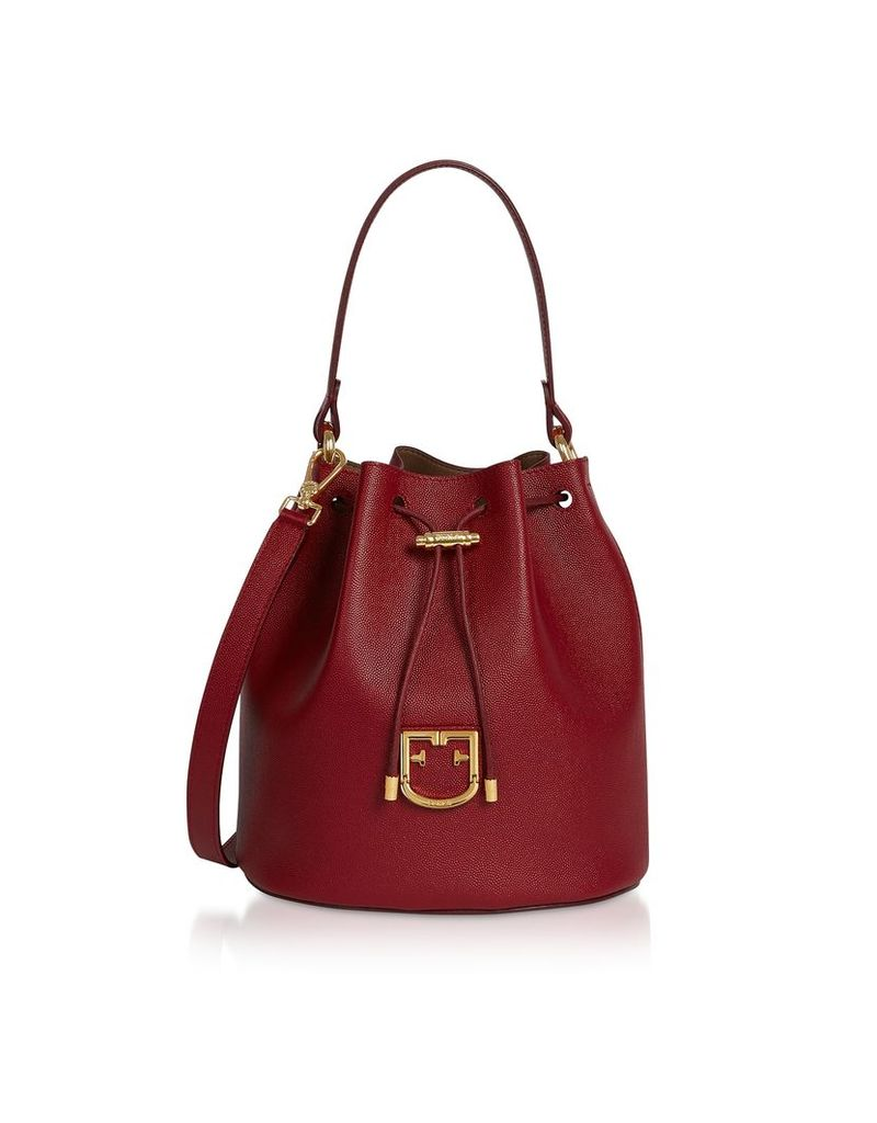Furla Corona S Drawstring Leather Bucket Bag