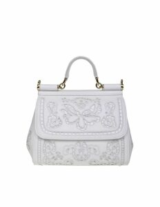 Dolce & Gabbana Hand Bag In Inlaid White Leather