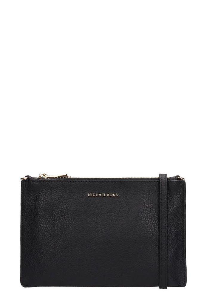 Michael Kors Black Leather Lg Dbl Pouch Xbody Bag