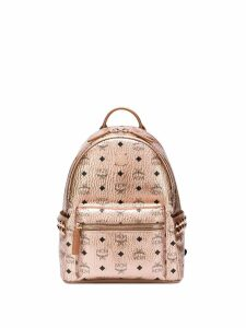 MCM logo print backpack - Metallic