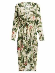 Adriana Degreas X Cult Gaia - Tropical Floral Print Silk Cover Up Robe - Womens - Green