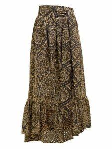 Lisa Marie Fernandez - Nicole Broderie Anglaise Cotton Midi Skirt - Womens - Black Gold