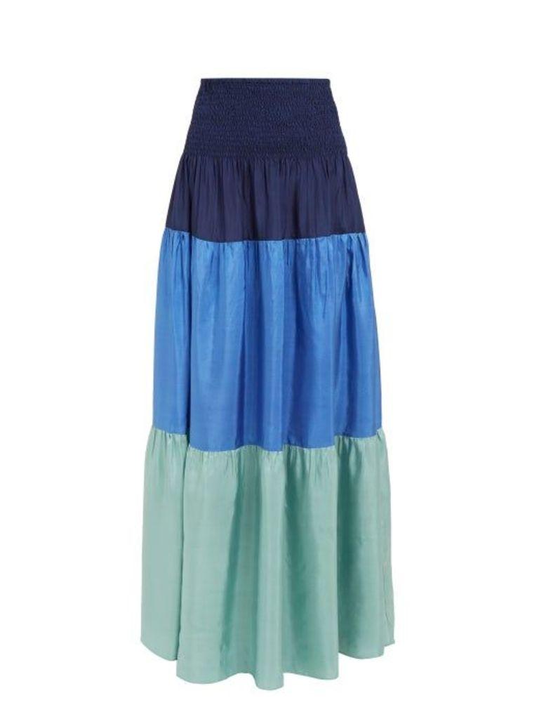 Anaak - Clara Colour Block Tiered Silk Skirt - Womens - Navy Multi