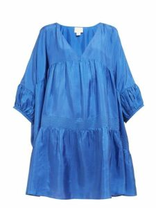 Anaak - Airi Gathered Silk Satin Dress - Womens - Blue