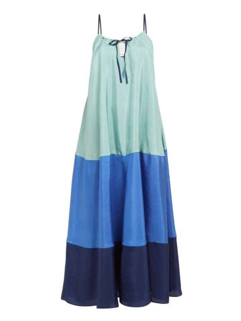 Anaak - Clara Colour Block Silk Dress - Womens - Blue Multi