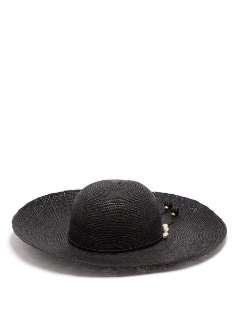 Sensi Studio - Hippie Lady Ibiza Shell Embellished Straw Hat - Womens - Black
