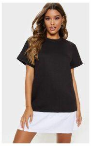 Black Short Sleeve Shirt Hem T-Shirt Dress, Black