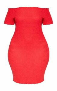 Plus Red Textured Bardot Puff Sleeve Bodycon Dress, Red
