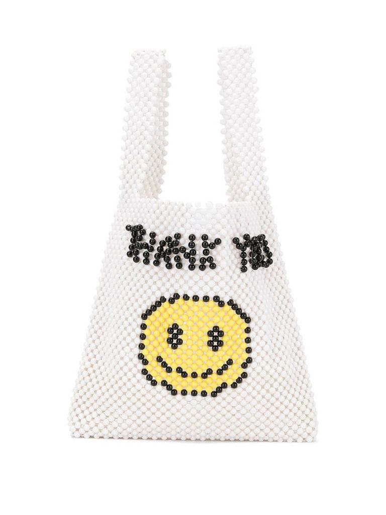 Ground Zero smiley face tote bag - White