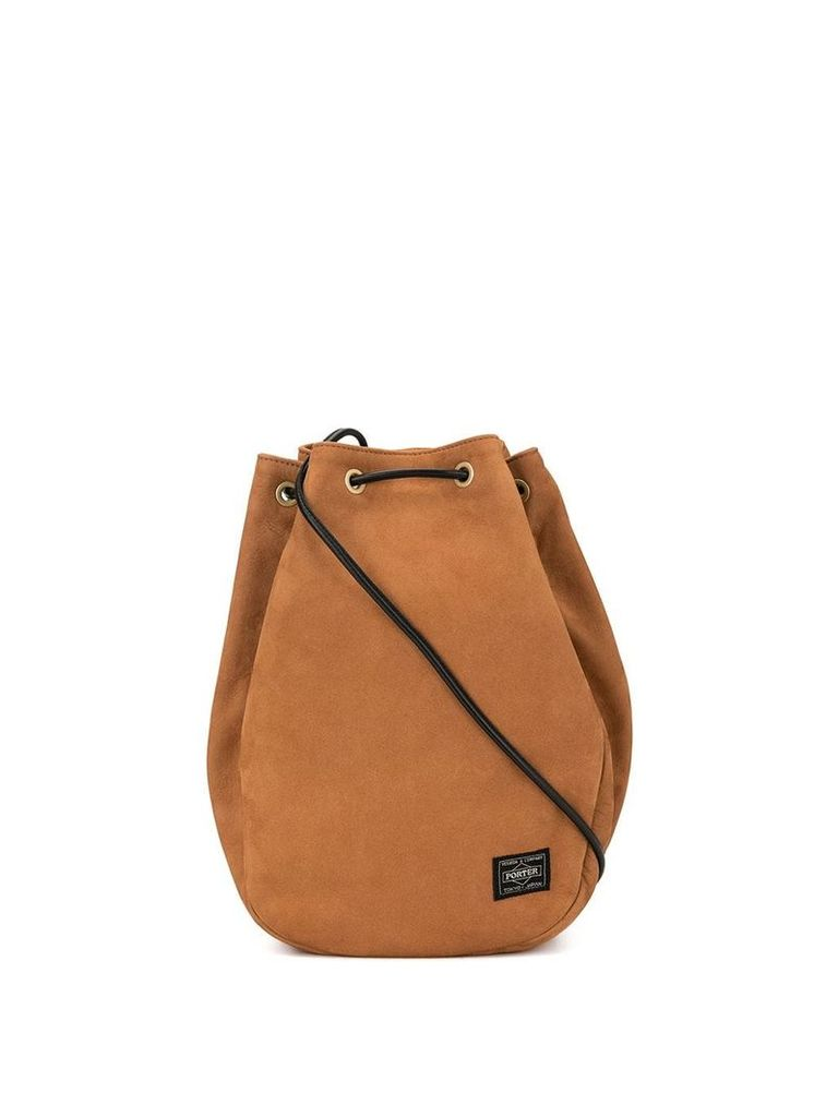 Porter-Yoshida & Co logo patch drawstring bag - Brown