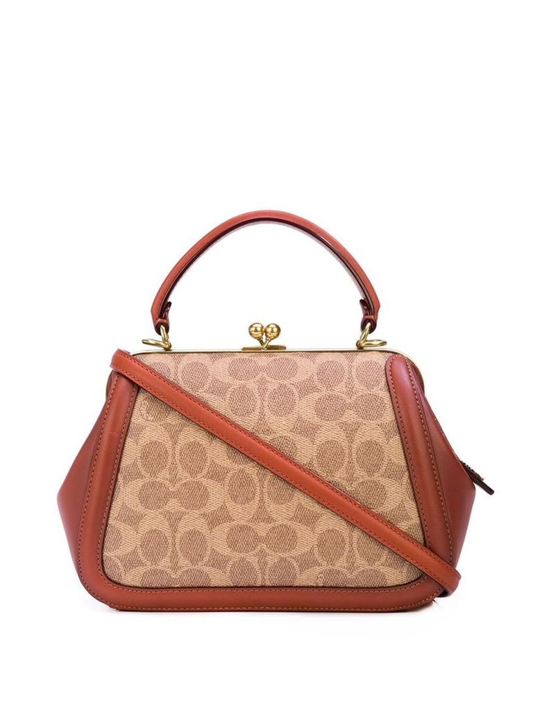 Coach patterned panel tote bag - Brown