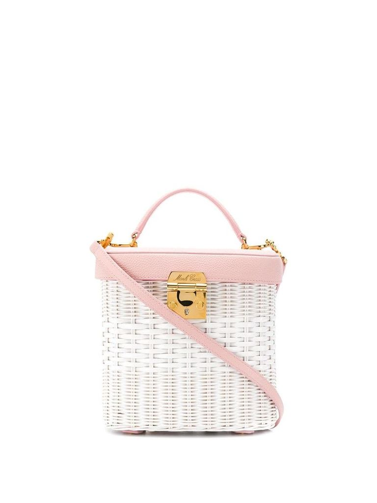 Mark Cross wicker boxy bag - White