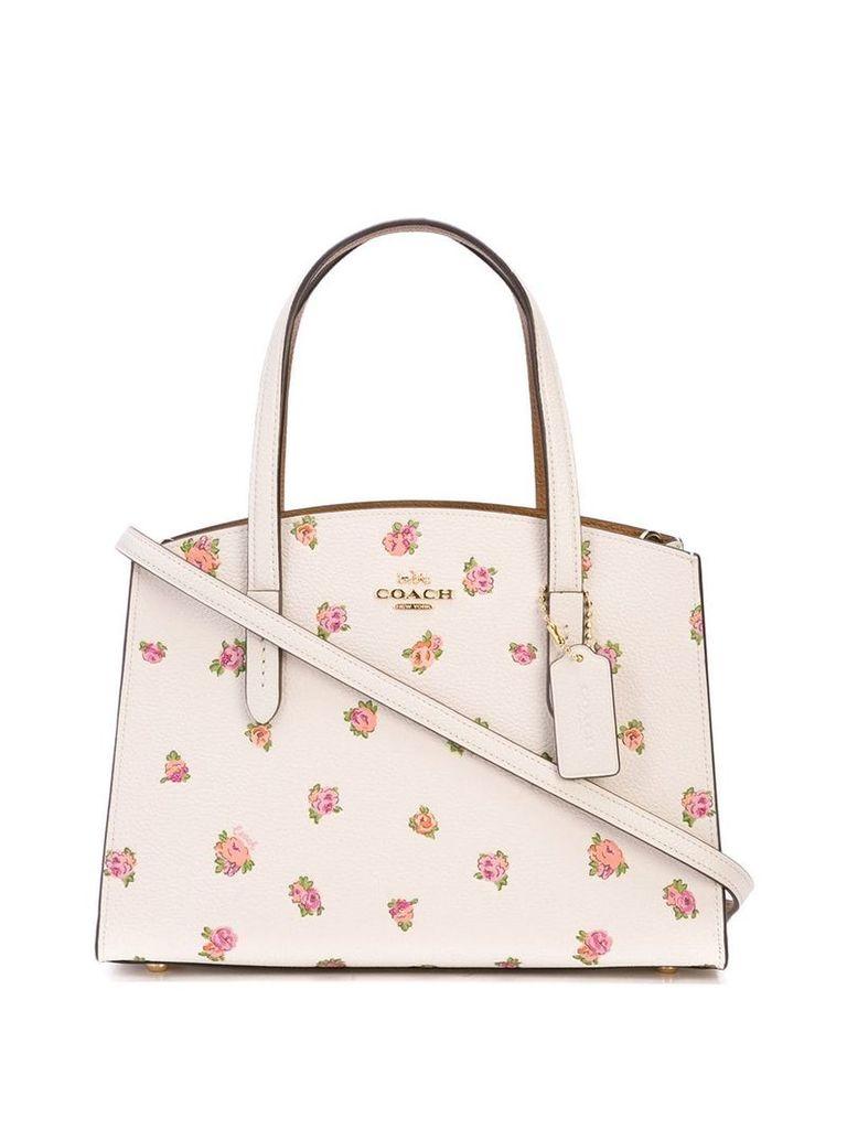Coach floral print tote bag - White