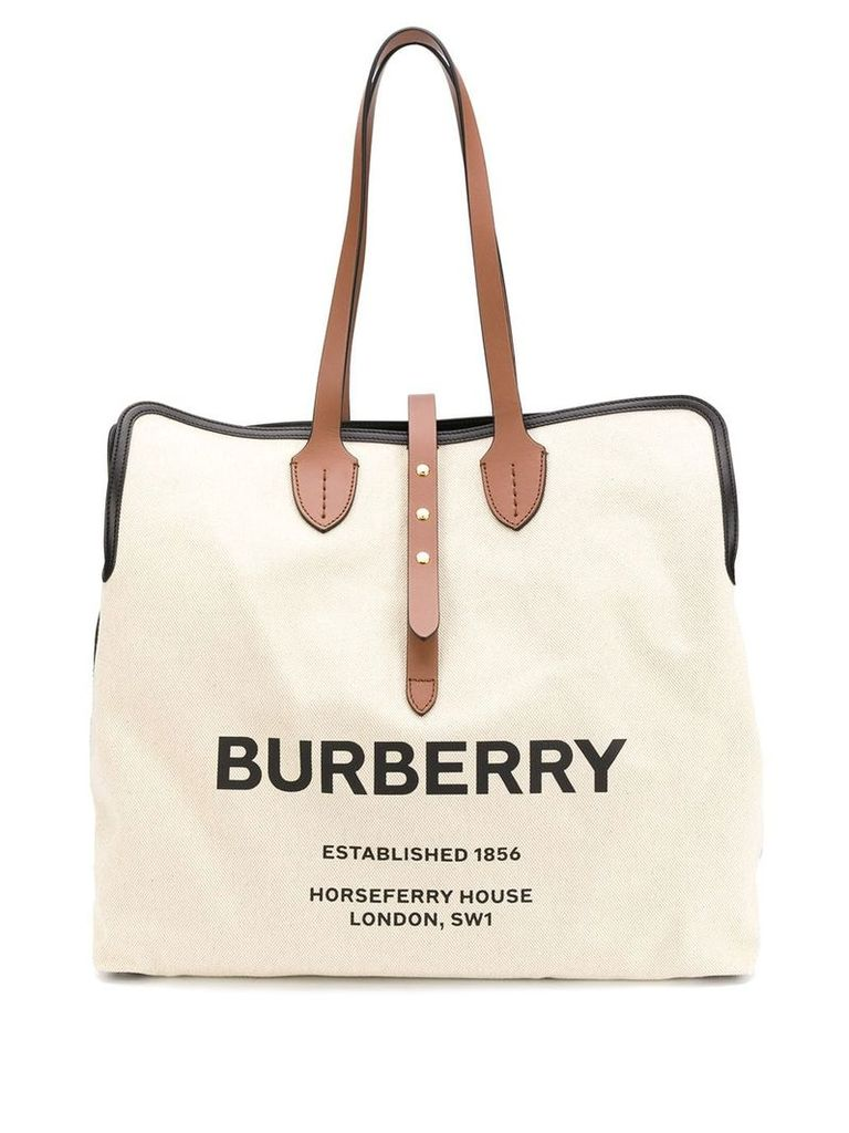 Burberry logo tote bag - Neutrals