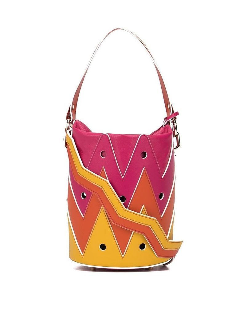 Sara Battaglia Rose Hole bucket bag - Pink