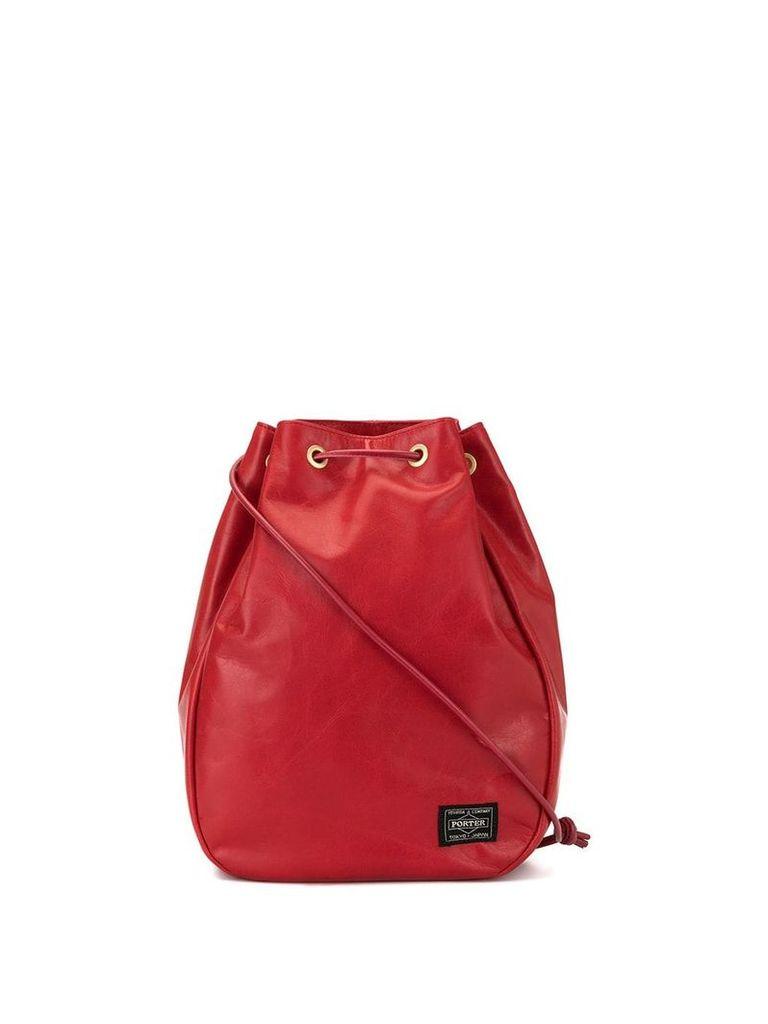 Porter-Yoshida & Co logo patch drawstring bag - Red