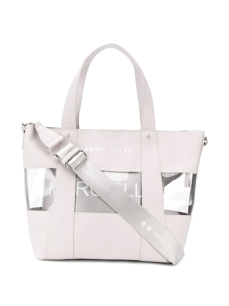 Marc Ellis transparent panel tote bag - White