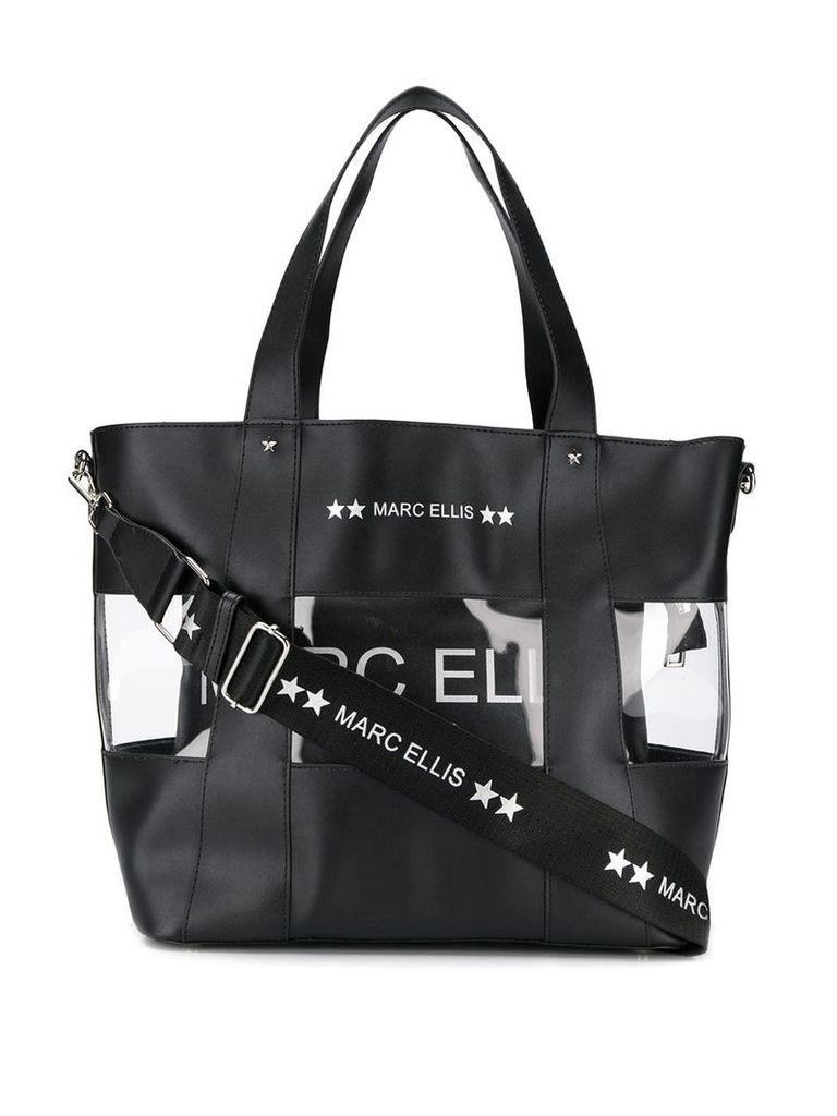 Marc Ellis transparent panel tote bag - Black
