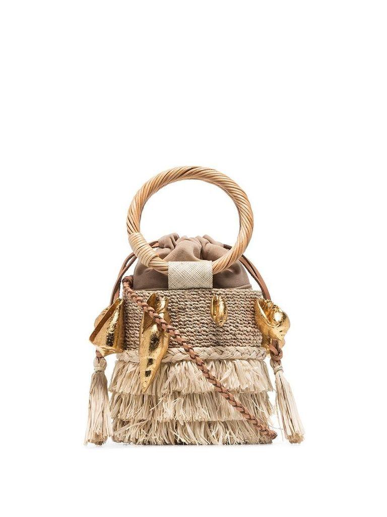 Aranaz Nona raffia bucket bag - Neutrals