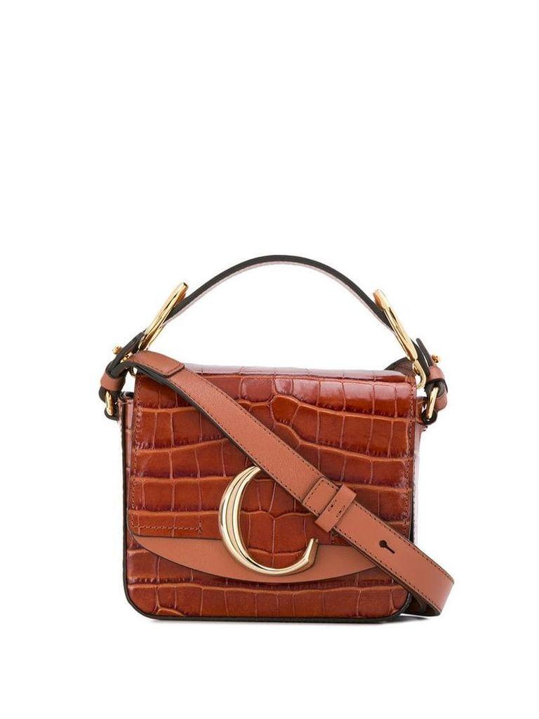Chloé logo plaque shoulder bag - Brown